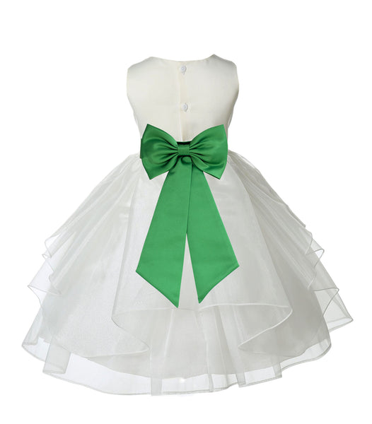 Ivory Satin Shimmering Organza Flower Girl Dress Junior Formal Pageant Baptism Christening 4613T(2)