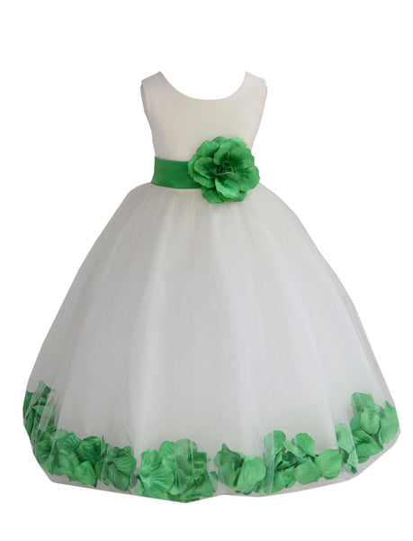 Ivory Tulle Floral Petals Flower Girl Dress Special Occasions Junior Pageant Wedding Holiday 302S(1)
