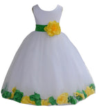 White Elegant Colorful Mixed Rose Petals Bridesmaid Pageant Special Occasion Flower Girl Dress 302T