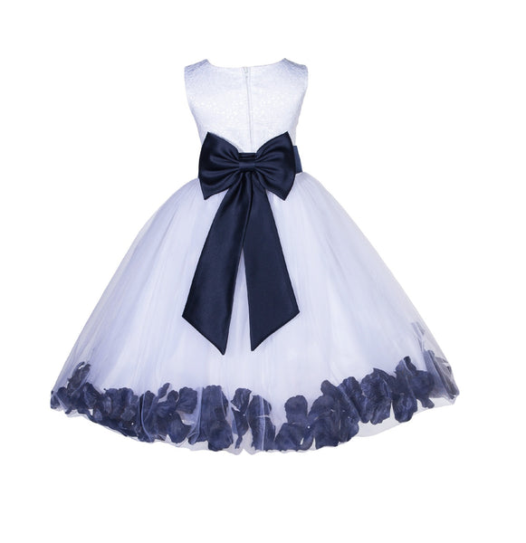 Ivory Tulle Floral Lace Top Rose Petals Flower Girl Dress Wedding Pageant Special Occasions 165T1