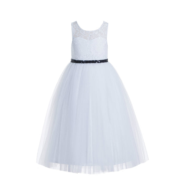 White Lace Tulle Scoop Neck Keyhole Back A-Line Junior Flower Girl Dress Pageant Gown Baptism 178