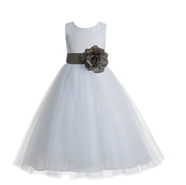 White Floral Lace Heart Cutout Flower Girl Dress Communion Baptism Junior Bridesmaid Dress 172T(3)