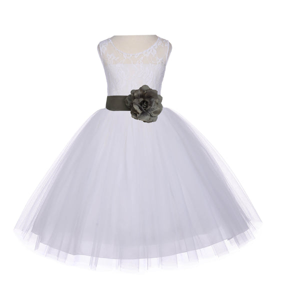 Ivory Sleeveless Lace Bodice Ribbon Tulle Flower Girl Dress Wedding Pageant Special Events 153T2
