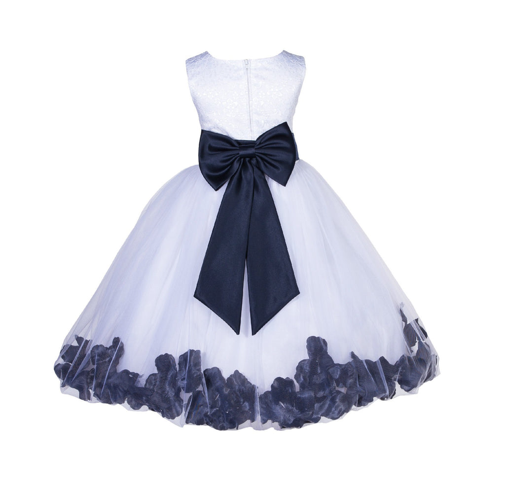 5a9ee26f8fc ... Ivory Tulle Floral Lace Top Rose Petals Flower Girl Dress Wedding  Pageant Special Occasions 165T1 ...