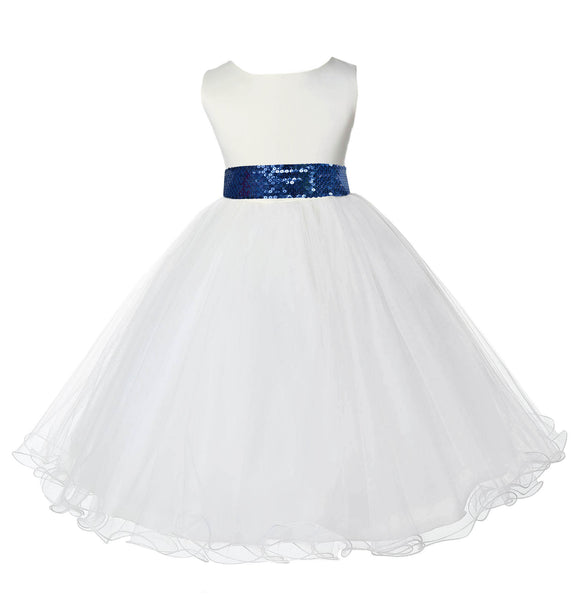 Ivory Formal Wedding Pageant Special Occasion Rattail Edge Tulle Sequin Mesh Flower Girl Dress 829mh
