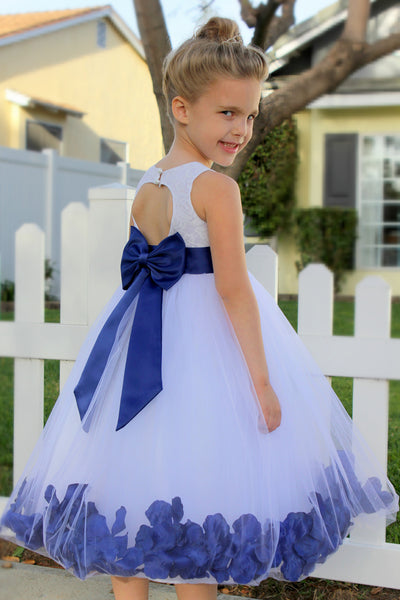 White Floral Lace Heart Cutout Rose Petals Flower Girl Dress Junior Bridesmaid Special Event 185T(3)