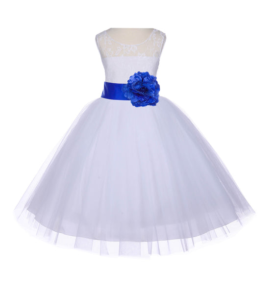 White Sleeveless Lace Bodice Ribbon Tulle Flower Girl Dress Wedding Pageant Special Events 153S2