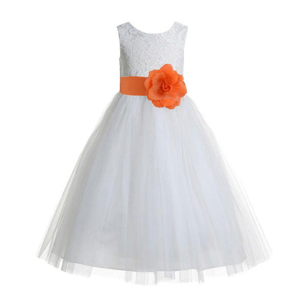 Ivory Floral Lace Heart Cutout Flower Girl Dress Communion Baptism Junior Bridesmaid Dress 172T(2)