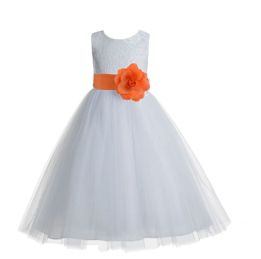 Floral Lace Overlay Cotton Flower Girl Dress Pageant Baptism Birthday Party 169R