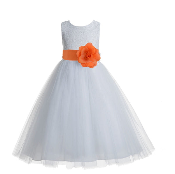 White Floral Lace Heart Cutout Flower Girl Dress Communion Baptism Junior Bridesmaid Dress 172T(2)