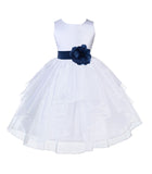 White Satin Shimmering Organza Flower Girl Dress Junior Formal Pageant Baptism Christening 4613T(2)
