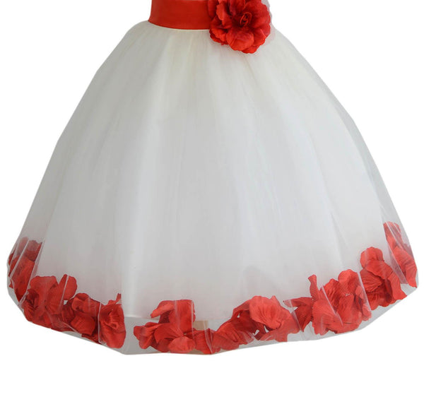Ivory Floral Lace Heart Cutout Rose Petals Flower Girl Dress Junior Bridesmaid Special Event 185T(3)
