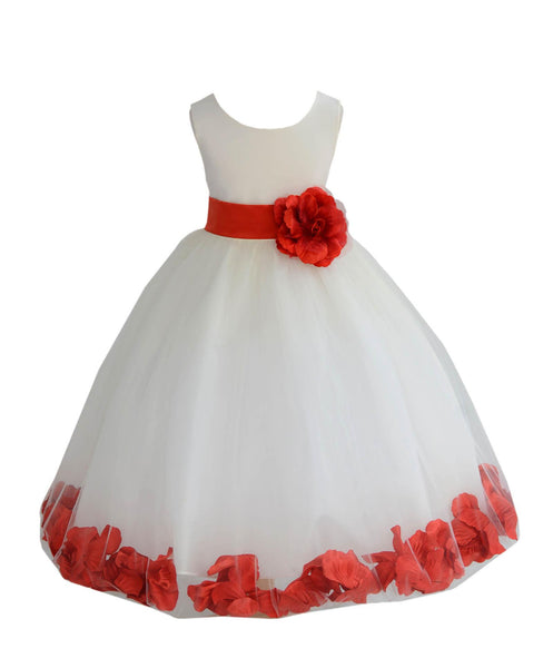 Ivory Elegant Wedding Pageant Special Events Petals Flower Girl Dress with Bow Tie Sash 302T2