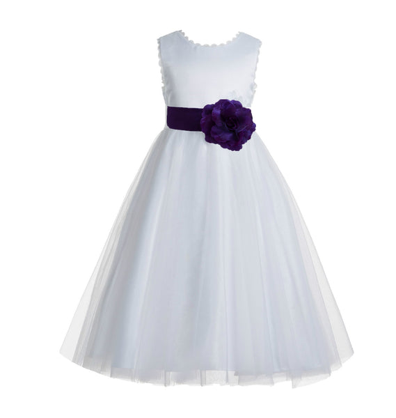 Ivory V-Back Lace Edge Flower Girl Dress Junior Pageant Special Occasion Formal Evening Gown 183T(3)