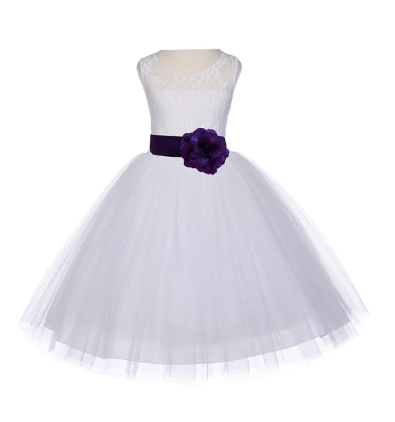 Ivory Sleeveless Lace Bodice Ribbon Tulle Flower Girl Dress Wedding Pageant Special Events 153T