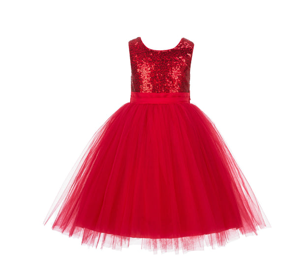 Formal Sequins Bodice Ruffle Tulle Flower Girl Dress Wedding Easter Toddler Pageant Occasions J122