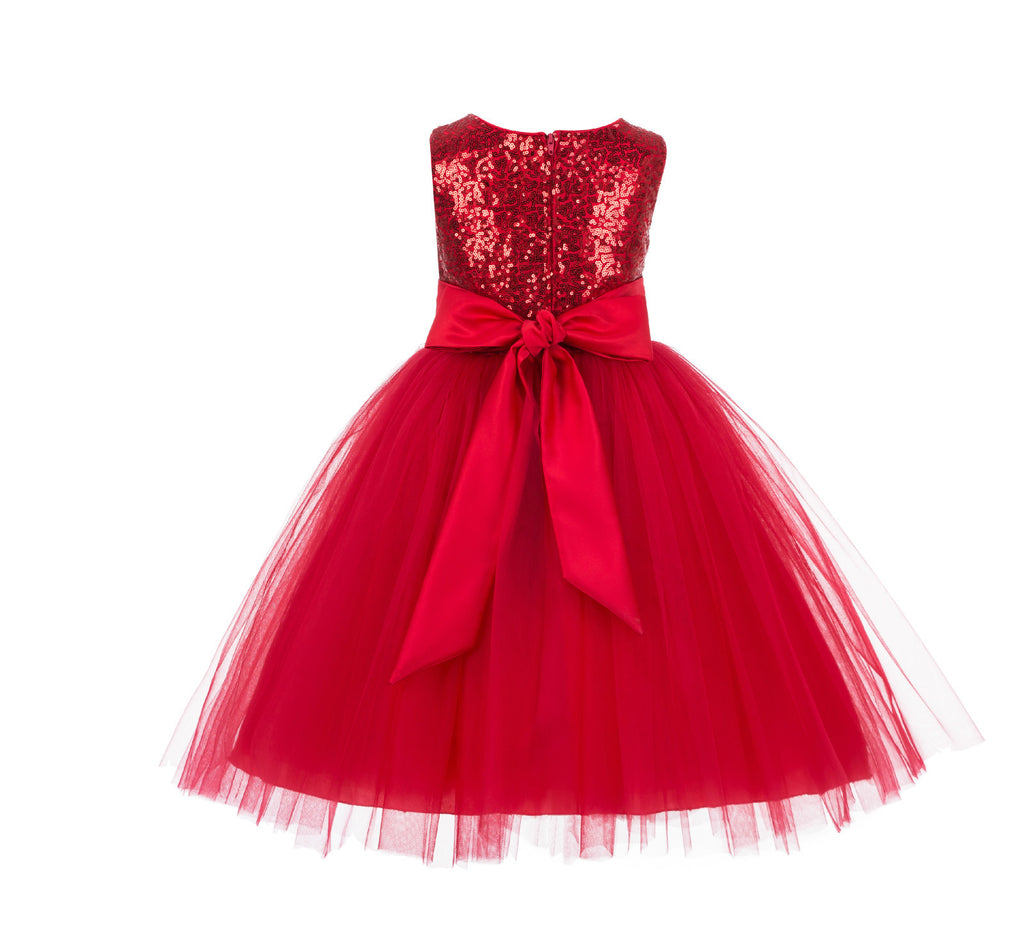 Formal Sequins Bodice Ruffle Tulle Flower Girl Dress Wedding Easter ...