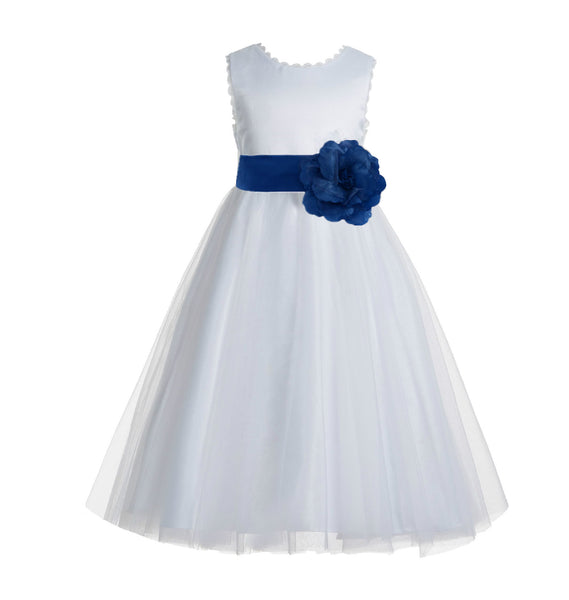 White V-Back Lace Edge Flower Girl Dress Junior Pageant Special Occasion Formal Evening Gown 183T(1)