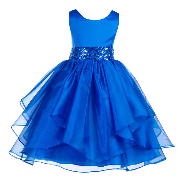 012S Asymmetric Ruffled Organza Sequined Flower Girl Dress