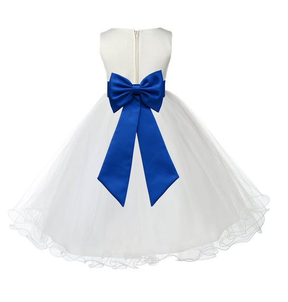 Ivory Formal Wedding Pageant Special Occasions Rattail Edge Tulle Flower Girl Dress 829T