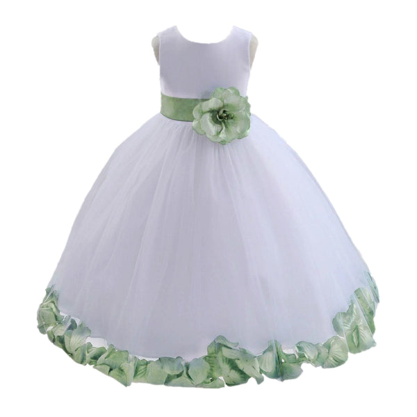 White Tulle Floral Petals Flower Girl Dress Special Occasions Junior Pageant Wedding Holiday 302S(2)