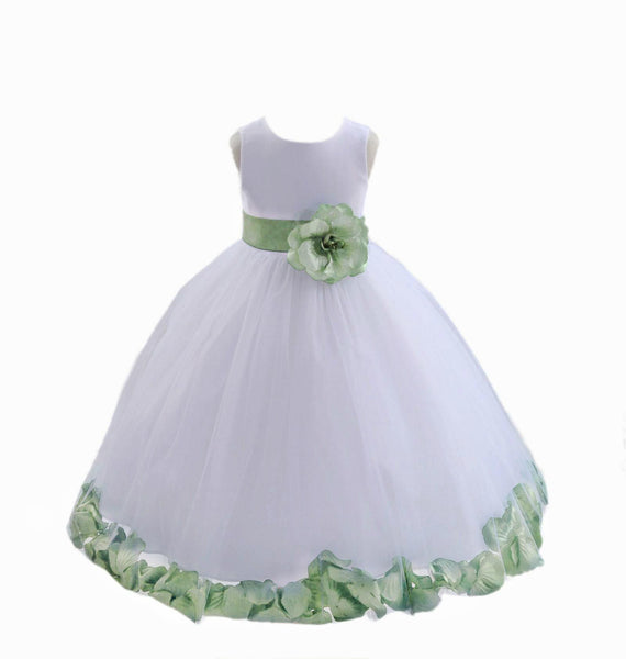 White Elegant Bridesmaid Pageant Special Occasions Rose Petals Flower Girl Dress 302T3