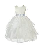 Ivory Pageant Bridal Special Events Shimmering Organza Sequin Mesh Flower Girl Dress 4613mh