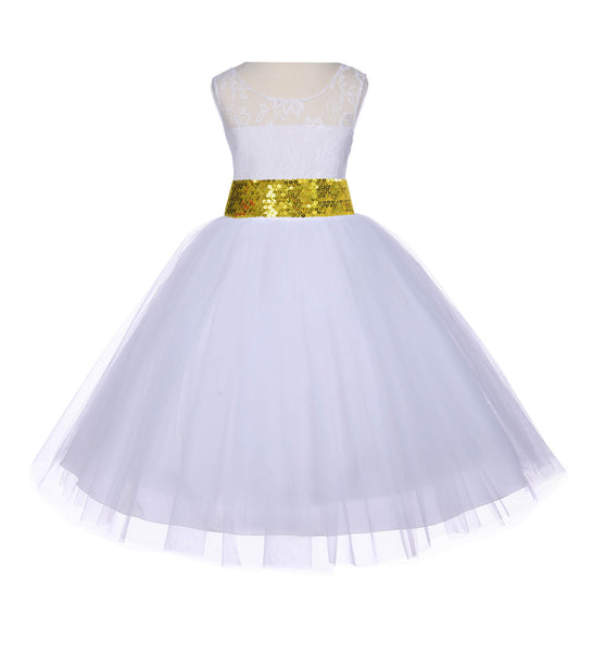 White Sleeveless Lace Bodice Ribbon Tulle Flower Girl Dress Wedding Pageant Special Events 153mh