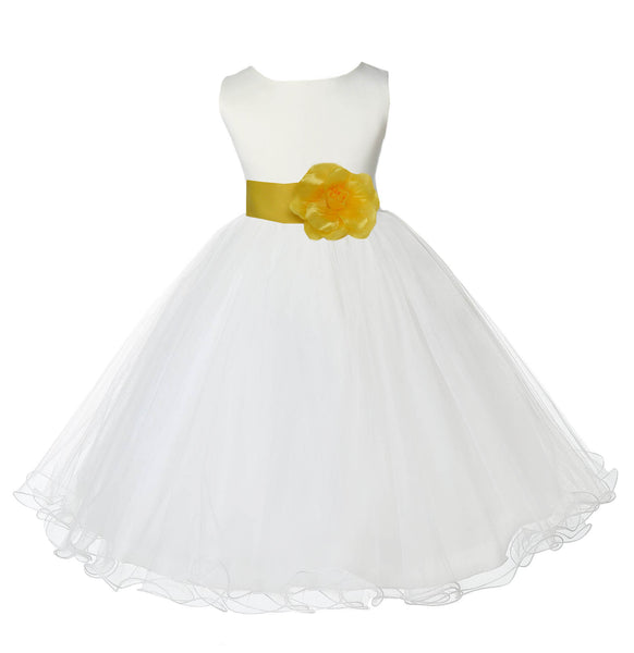 Ivory Formal Wedding Pageant Special Occasions Rattail Edge Tulle Flower Girl Dress 829S2