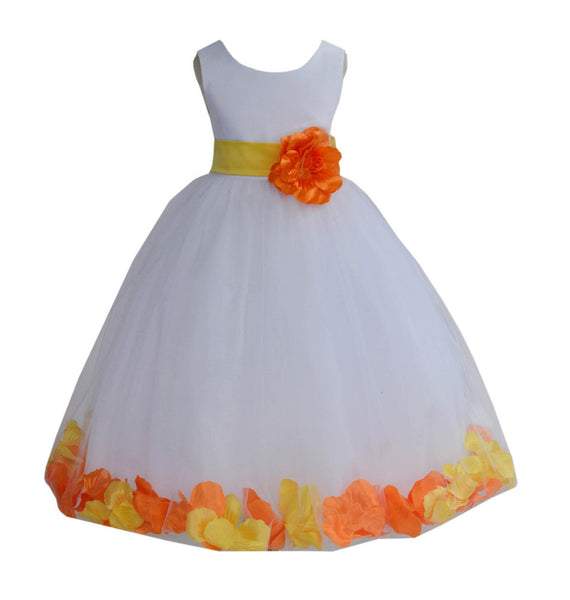 White Elegant Colorful Mixed Rose Petals Bridesmaid Pageant Special Occasion Flower Girl Dress 302T1