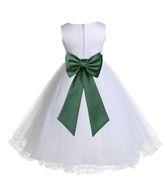 White Formal Wedding Pageant Special Occasions Rattail Edge Tulle Flower Girl Dress 829T