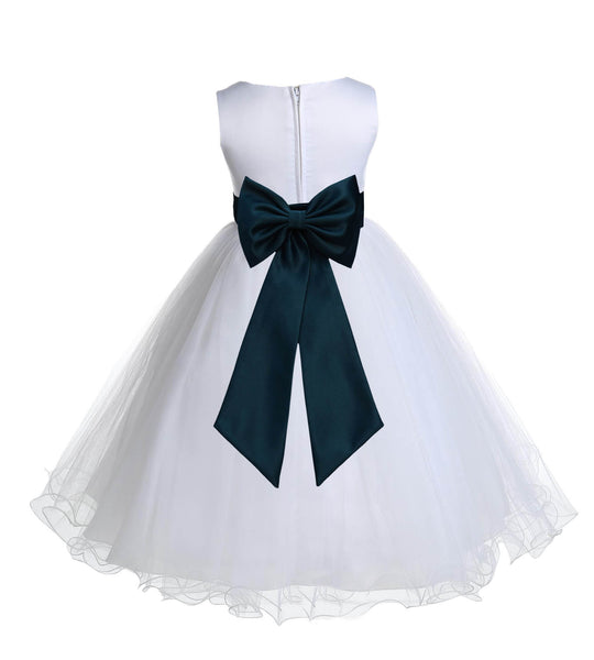White Formal Wedding Pageant Special Occasions Rattail Edge Tulle Flower Girl Dress 829T1