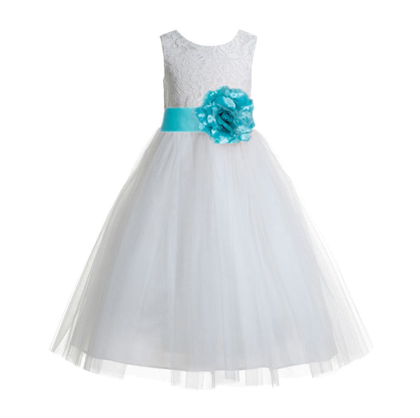 Ivory Floral Lace Heart Cutout Flower Girl Dress Communion Baptism Junior Bridesmaid Dress 172T(5)