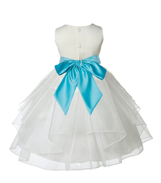 Ivory Shimmering Organza Flower Girl Dress Wedding Junior Bridesmaid Pageant Special Events 4613S(5)