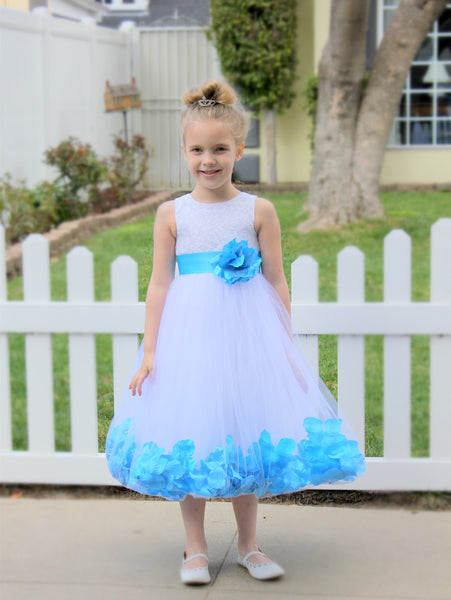 White Floral Lace Heart Cutout Rose Petals Flower Girl Dress Junior Bridesmaid Special Event 185T(4)