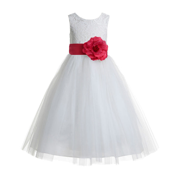 bbb7f95f6ba Ivory Floral Lace Heart Cutout Flower Girl Dress Communion Baptism Junior  Bridesmaid Dress 172T(4 ...