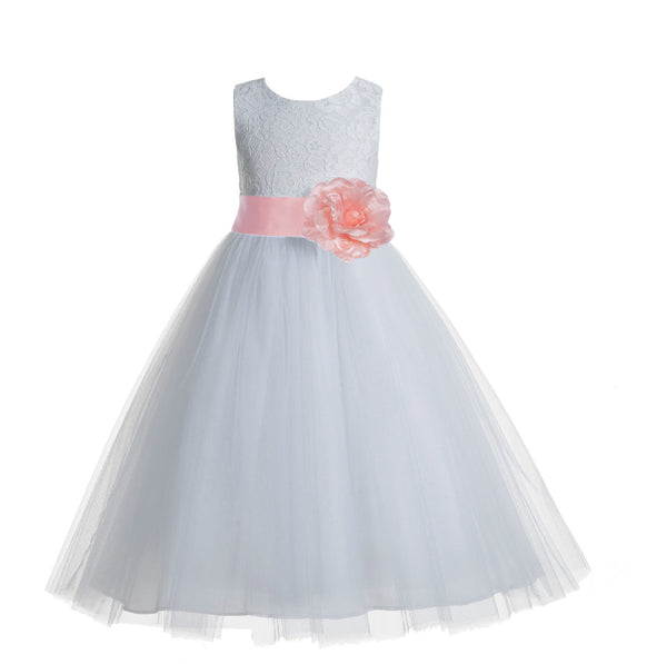 White Floral Lace Heart Cutout Flower Girl Dress Communion Baptism Junior Bridesmaid Dress 172T(5)