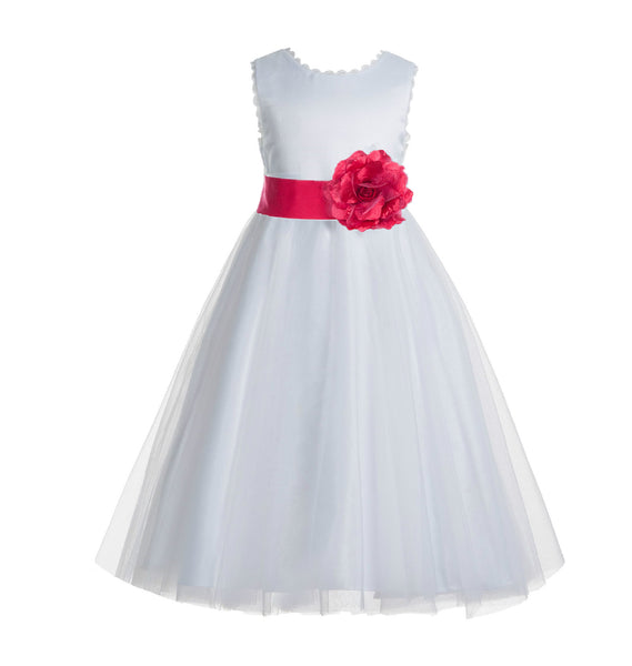 Ivory V-Back Lace Edge Flower Girl Dress Junior Pageant Special Occasion Formal Evening Gown 183T(1)