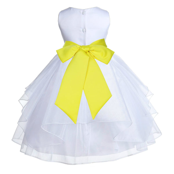 White Shimmering Organza Flower Girl Dress Wedding Junior Bridesmaid Pageant Special Events 4613S(4)