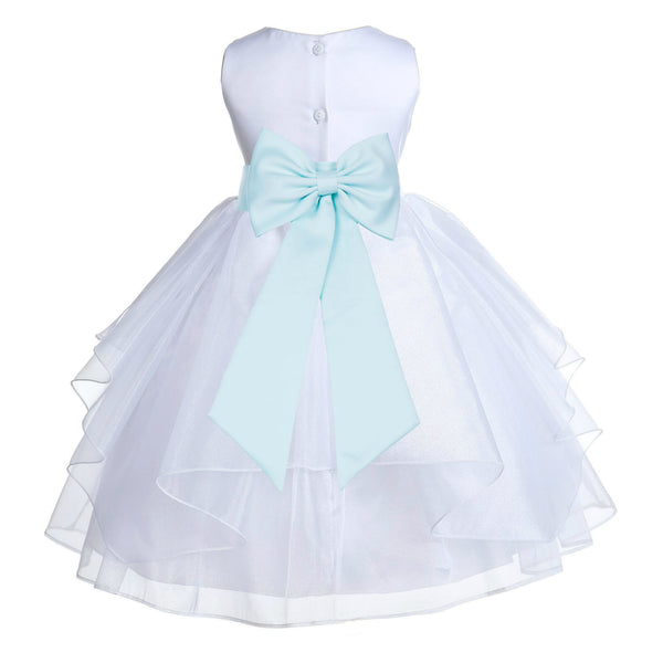 White Satin Shimmering Organza Flower Girl Dress Junior Formal Pageant Baptism Christening 4613T(5)