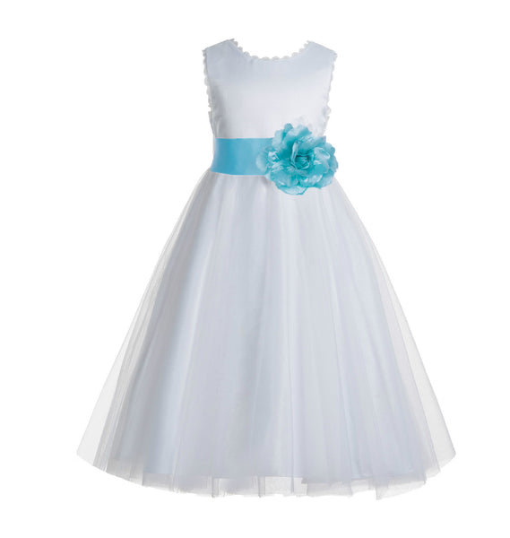 White V-Back Lace Edge Flower Girl Dress Junior Pageant Special Occasion Formal Evening Gown 183T(3)
