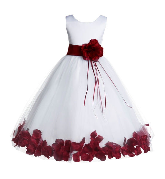 White Tulle Floral Rose Petals Princess Wedding Pageant Recital Birthday Flower Girl Dress 007(3)