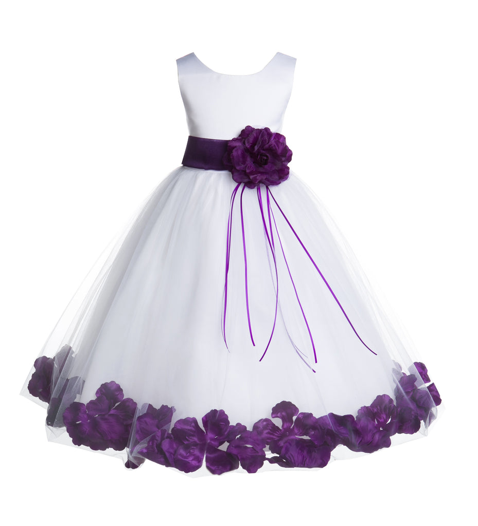 0cee3d41f White Tulle Floral Rose Petals Princess Wedding Pageant Recital ...