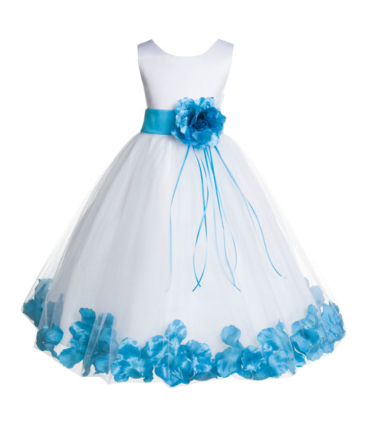 White Tulle Floral Rose Petals Princess Wedding Pageant Recital Birthday Flower Girl Dress 007(2)