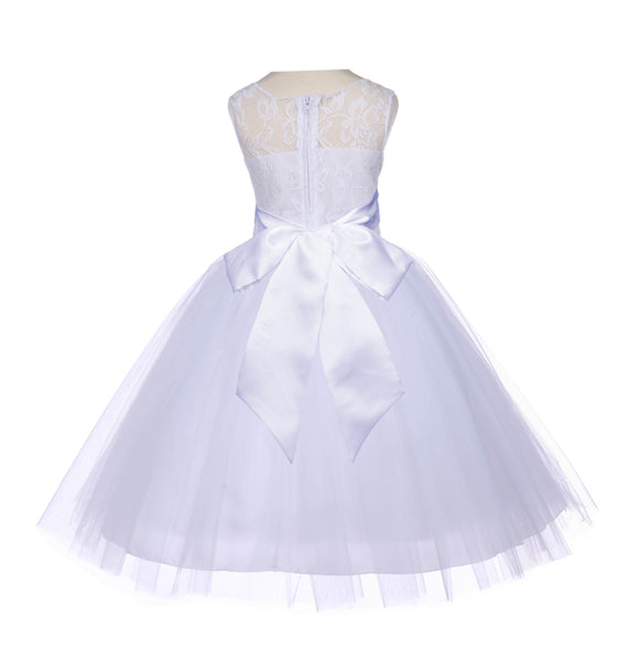 White Sleeveless Lace Bodice Ribbon Tulle Flower Girl Dress Wedding Pageant Special Events 153S