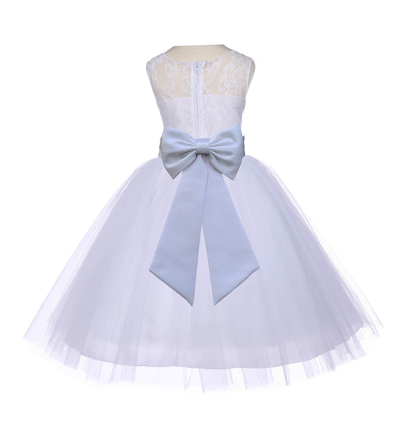 White Sleeveless Lace Bodice Ribbon Tulle Flower Girl Dress Wedding Pageant Special Events 153T
