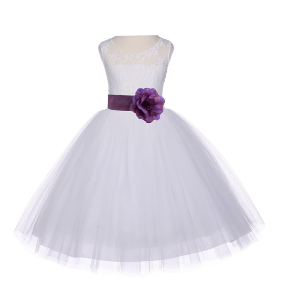 Ivory Sleeveless Lace Bodice Ribbon Tulle Flower Girl Dress Wedding Pageant Special Events 153T1