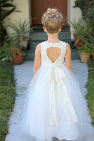 Floral Lace Heart Cutout Flower Girl Dress Junior Pageant Communion Baptism Wedding Tulle Dress 172