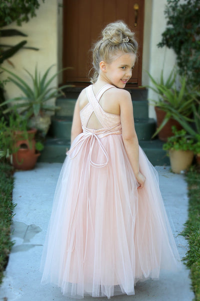 Sweetheart Neck Crossed Straps A-Line Flower Girl Dress Junior Pageant Mini Bride Recital Easter 173