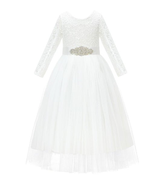 A-Line V-Back Lace Flower Girl Dress with Sleeves Formal Junior Princess Gown Special Occasion 290R3